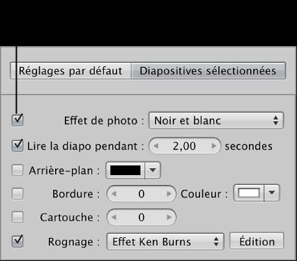Figure. Case Effet de photo et menu local dans la sous-fenêtre Diapositives sélectionnées de l'éditeur de diaporama.