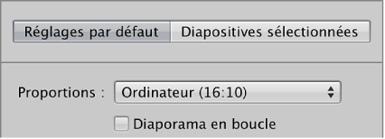 Figure. Menu local Proportions dans la sous-fenêtre Réglages par défaut de l'éditeur de diaporama.