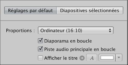 Figure. Cases Diaporama en boucle et Piste audio principale en boucle dans la sous-fenêtre Réglages par défaut de l'éditeur de diaporama.