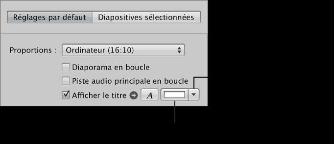 Figure. Commandes Afficher la diapo-titre dans la sous-fenêtre Réglages par défaut de l'éditeur de diaporama.