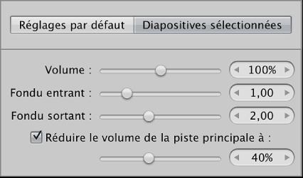 Figure. Commandes Vidéo dans la sous-fenêtre Diapositives sélectionnées de l'éditeur de diaporama.