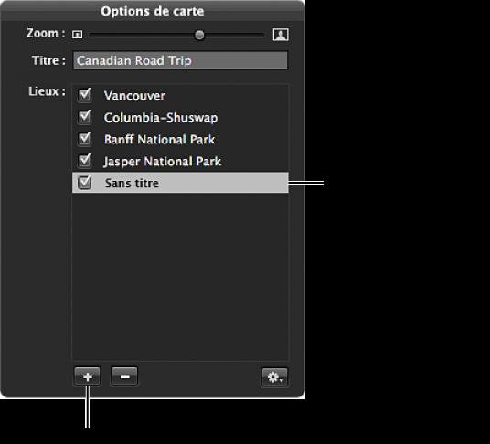 Figure. Nouvel emplacement et emplacement sans titre dans la palette des options de carte.