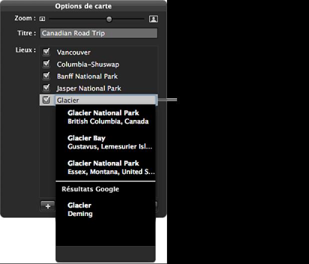 Figure. Palette des options de carte affichant les informations saisies dans l'emplacement sans titre et les emplacements indiqués dans les résultats de recherche.