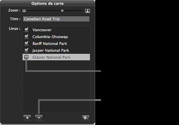 Figure. Palette des options de carte affichant une case d'emplacement désélectionnée.