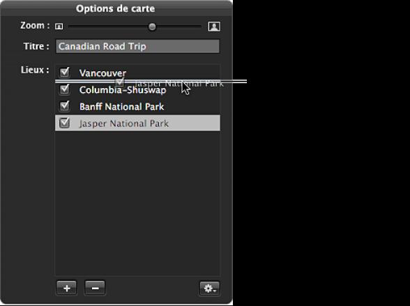 Figure. Palette des options de carte affichant les emplacements glissés pour réorganiser les lignes de direction sur la carte du livre.