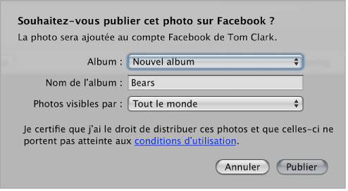 Figure. Zone de dialogue de publication de photos sur le mur d'un compte Facebook.