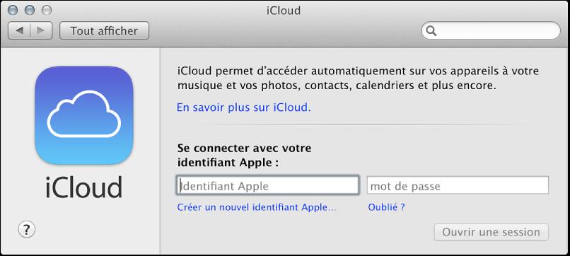 Figure. Sous-fenêtre iCloud de la fenêtre Préférences Système