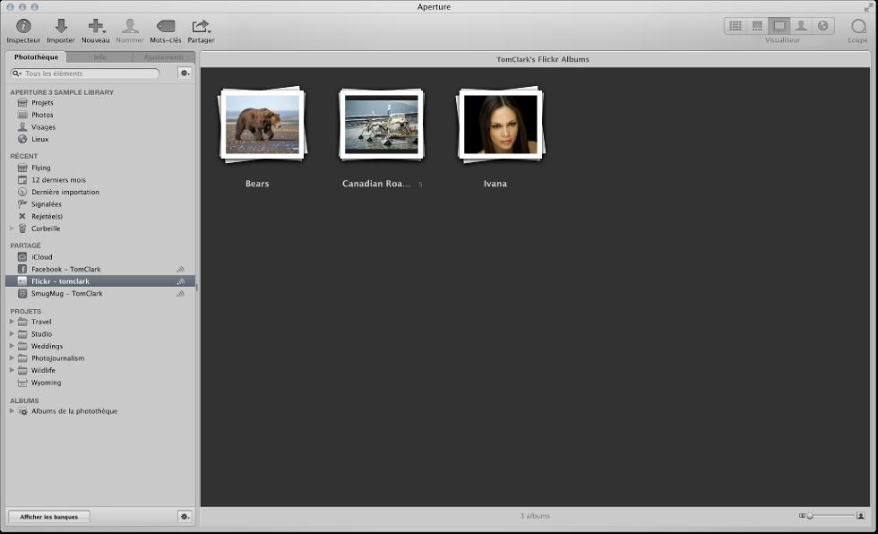 Compte Flickr sélectionné dans l'inspecteur de photothèque