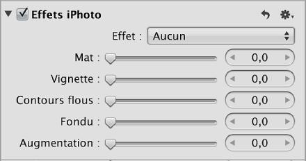 Commandes Effets iPhoto