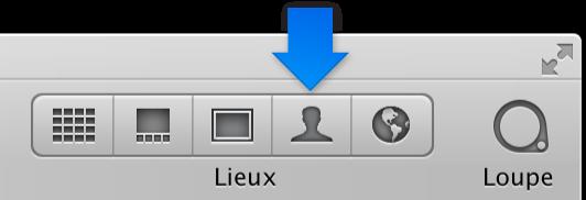 Figure. Bouton Visages dans la barre d'outils.