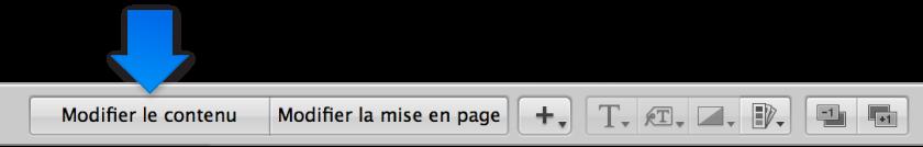 Figure. Boutons Modifier le contenu et «Modifier la mise en page» dans l'éditeur de mise en page de livre.