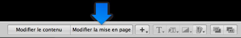Figure. Bouton «Modifier la mise en page» dans l'éditeur de mise en page de livre.