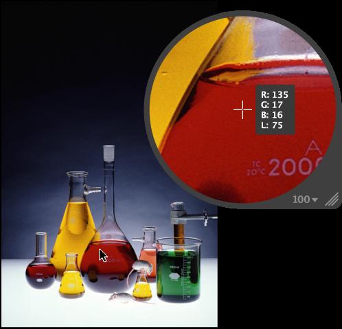 図。 イメージのカラー値が表示されているルーペ。