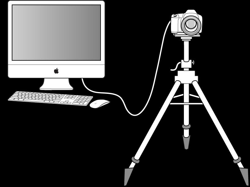 図。 コンピュータに接続されたデジタルカメラの図。