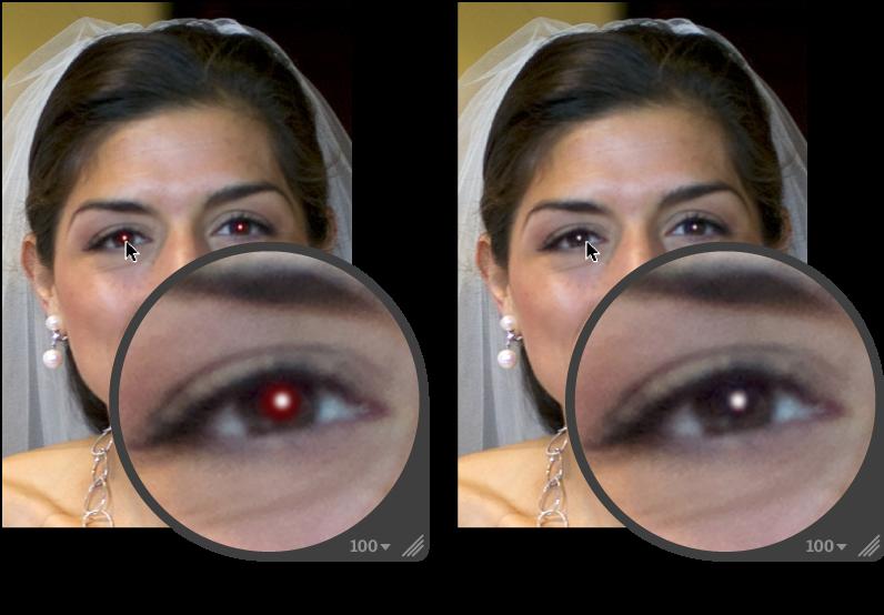 図。 「赤目」調整の前と後のイメージ。