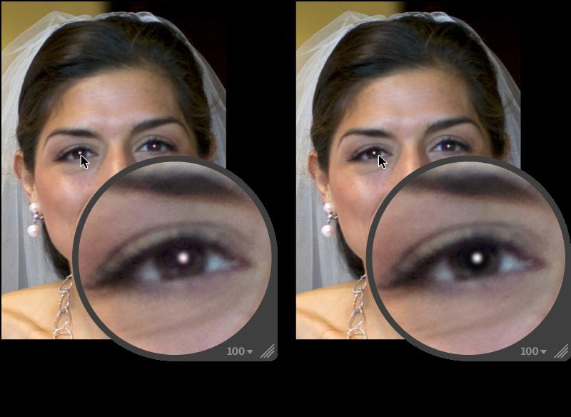 図。 「赤目」ターゲットオーバーレイ内の「感度」調整の前と後のイメージ。