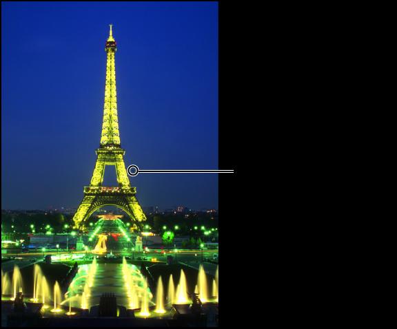 図。 イメージの問題のある個所を修正するためにその上に置かれている、黄色の「スポットとパッチ」ターゲットオーバーレイが表示されているイメージ。