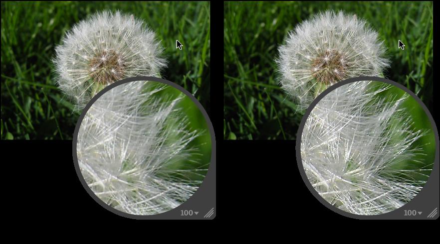図。 「エッジシャープ」調整の前と後のイメージ。