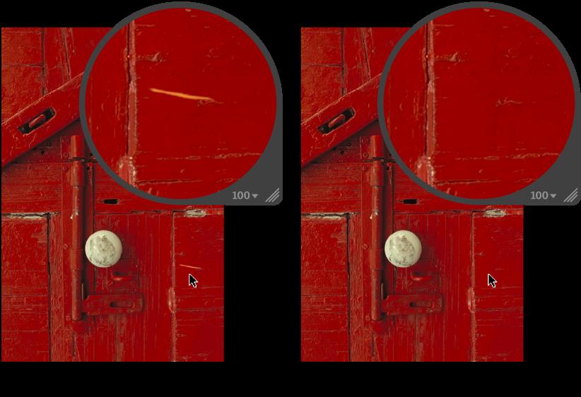 図。 「修復」調整の前と後のイメージ。