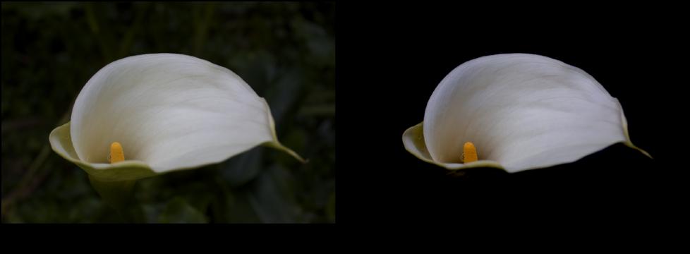 図。 「ブラックポイント」を使った「カーブ」調整の前と後のイメージ。