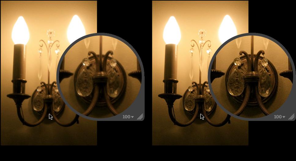 図。 「シャープ」クイックブラシ調整の前と後のイメージ。