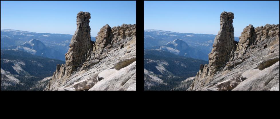 図。 「ポラロイド風」クイックブラシ調整の前と後のイメージ。