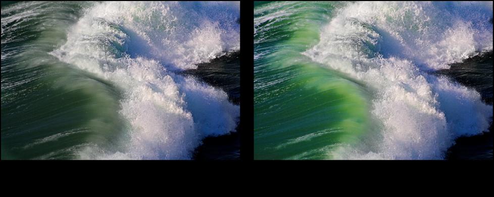 図。 「バイブランス」クイックブラシ調整の前と後のイメージ。