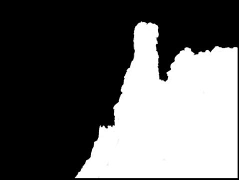 図。 ブラシ調整によってイメージの領域の上に白のオーバーレイが表示されているイメージ。イメージのそれ以外の部分は黒一色で表示されています。