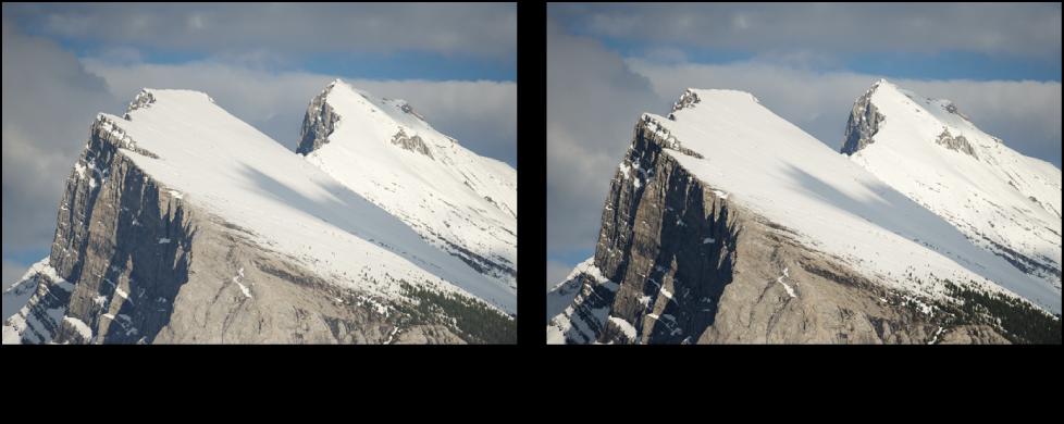 図。 「コントラストを強調」クイックブラシ調整の前と後のイメージ。