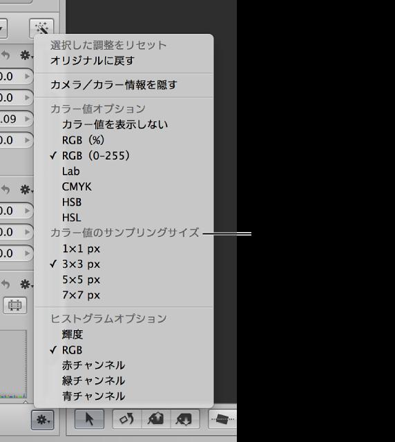 図。 カラー値のサンプリングサイズのオプションが表示されている調整アクションのポップアップメニュー。