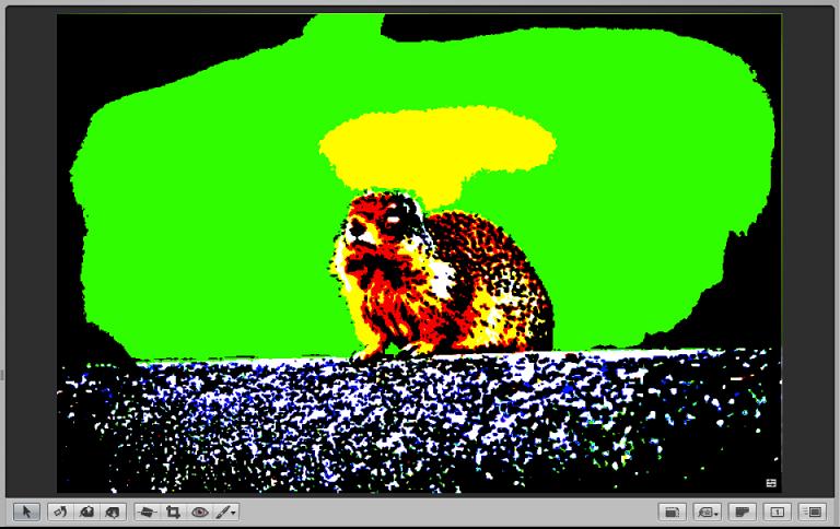 図。 カラー・クリップ・オーバーレイが入になっているイメージが表示されているビューア。