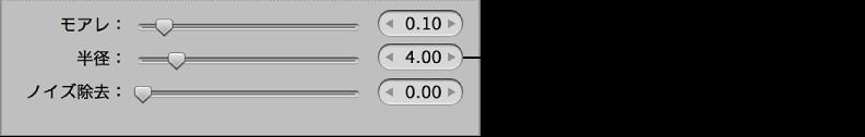 図。 「調整」インスペクタの「RAW 微調整」領域の「半径」コントロール。