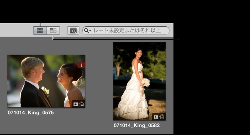 図。 ブラウザの「すべてのイメージを表示」ボタンと「配置していないイメージを表示」ボタン。