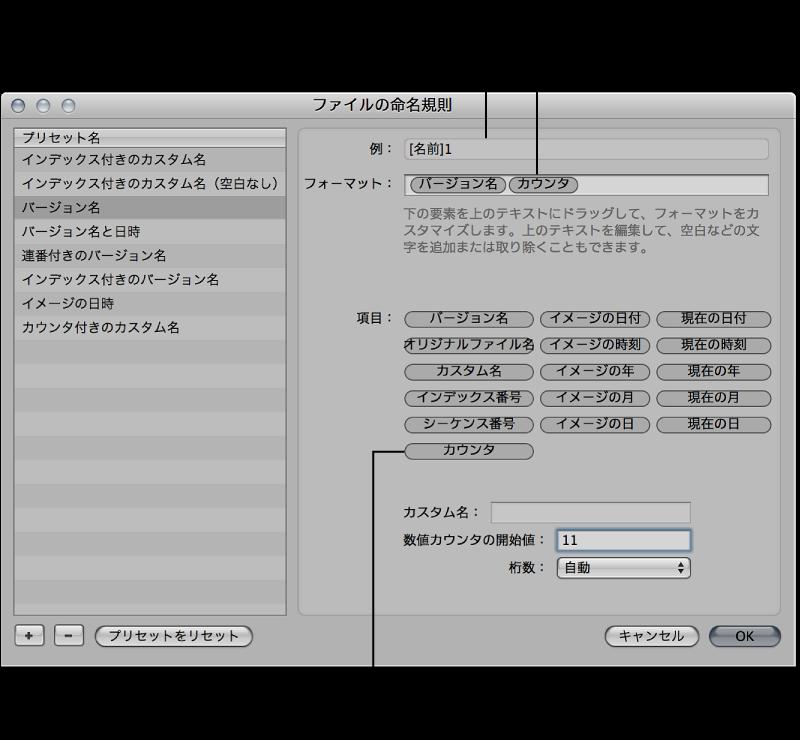 図。 「ファイルの命名規則」ダイアログでファイル命名規則のプリセットを作成するために使用する名前要素。