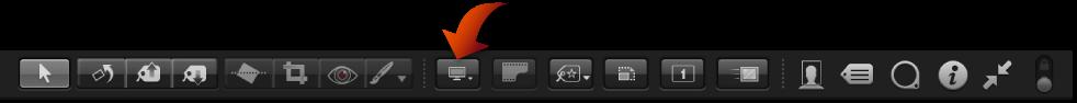 図。 フルスクリーン表示のツールバーの「ビューアモード」ポップアップメニュー。