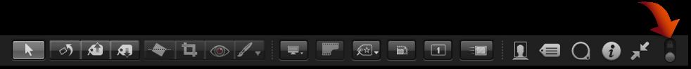 図。 「常にツールバーを表示」コントロールが表示されているフルスクリーン表示のツールバー。