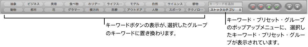 図。 新しく選択したキーワード・プリセット・グループのキーワードが表示されているコントロールバーのキーワードボタン。