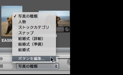 図。 「ボタンを編集」コマンドが表示されているキーワード・プリセット・グループのポップアップメニュー。