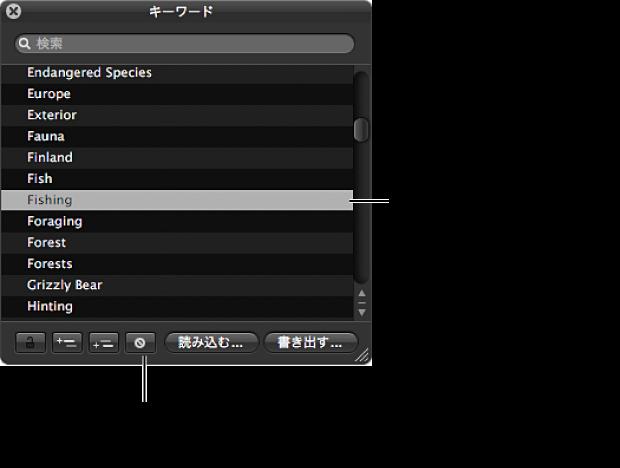 図。 「キーワードを削除」ボタンと、前に選択されてリストから削除されるキーワードが表示されている「キーワード HUD」。