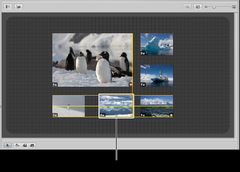 図。 ドラッグされるイメージが表示されているライトテーブル。イメージの位置を揃えるのに役立つ黄色いガイドラインが表示されています。