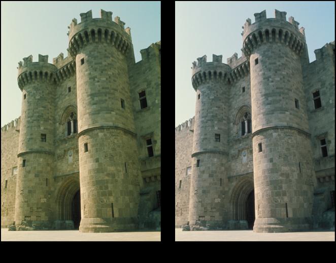 図。 「グレイの色合い」調整の前と後のイメージ。