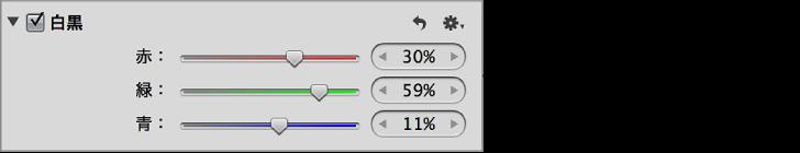 図。 「調整」インスペクタの「白黒」領域のコントロール。