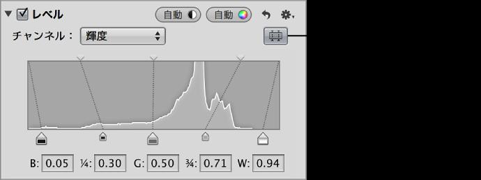 図。 「調整」インスペクタの「レベル」領域の「四分割トーンレベル」コントロール。