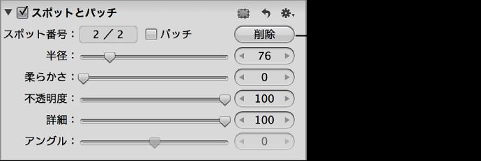 図。 「調整」インスペクタの「スポットとパッチ」領域にある「削除」ボタン。
