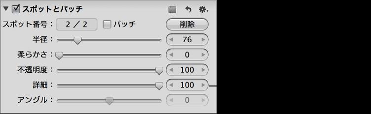 図。 「調整」インスペクタの「スポットとパッチ」領域の「詳細」コントロール。