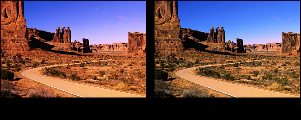 図。 赤レベルの調整の前と後のイメージ。