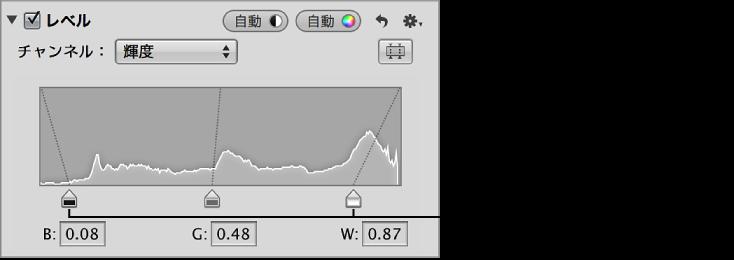 図。 黒レベルと白レベルのスライダ。「調整」インスペクタの「レベル」領域の輝度ヒストグラムグラフの端に配置されています。