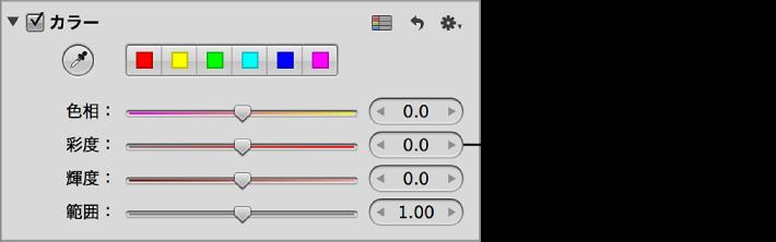 図。 「調整」インスペクタの「カラー」領域の「彩度」コントロール。