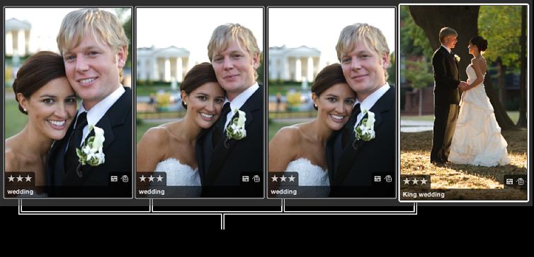 図。 それぞれに同じレートが適用されたイメージのグループ。