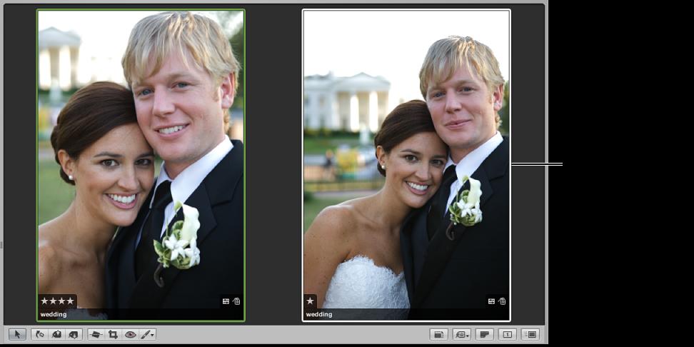 図。 比較イメージが左側に、新しい候補が右側に表示されているビューア。